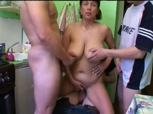 foresome orgy with hot redhead mom