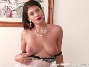 Brunette Roxy Mendez with big tits toys..