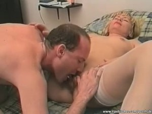 Hairy mature blonde rides cock like a pro